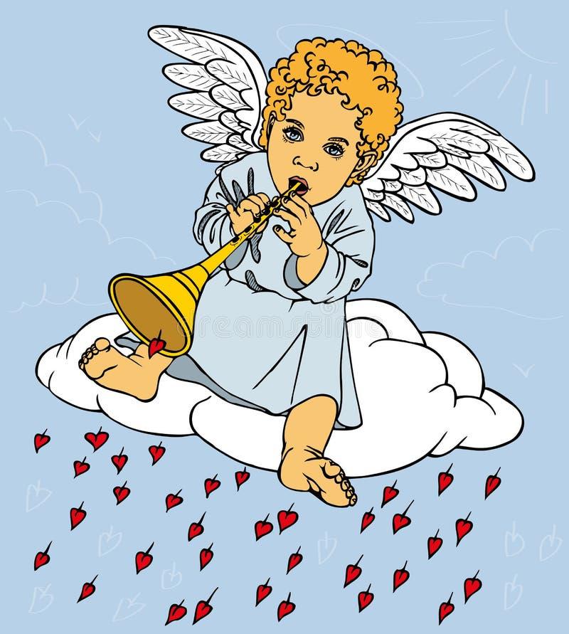 Anioł z drymbą na chmurze ilustracja wektor