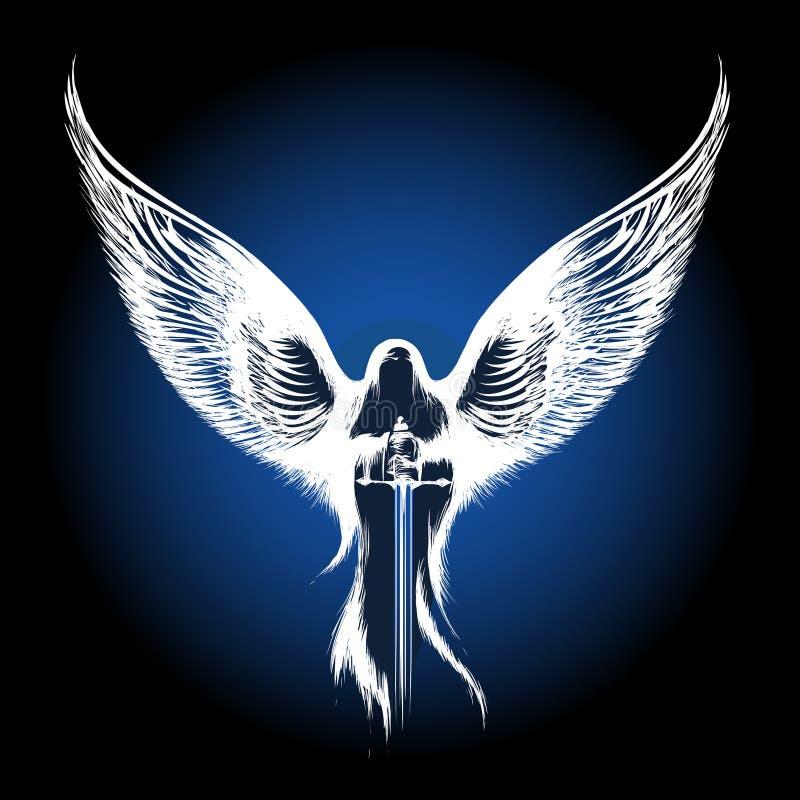 Anioł z kordzikiem ilustracja wektor
