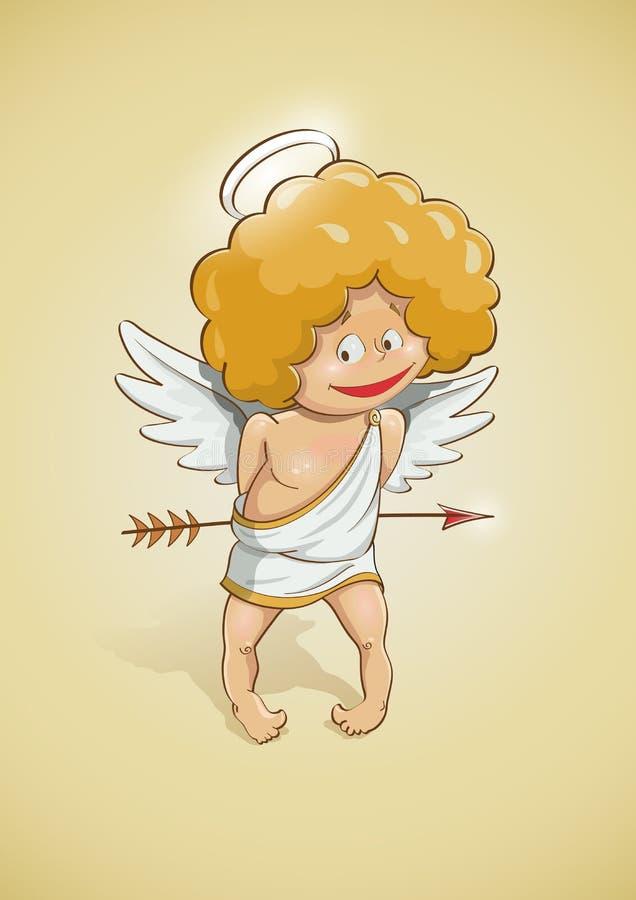 Anioła amorek dla valentines dnia ilustracja wektor