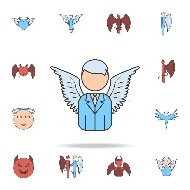 anioła biznesowego mężczyzny koloru pola konturu ikona Szczegółowy set anioła i demonu ikony Premia graficzny projekt Jeden kolek ilustracja wektor