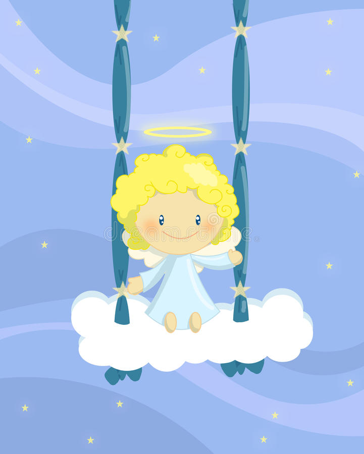 anioła chłopiec chlanie royalty ilustracja