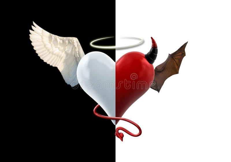 Anioła diabła serce ilustracja wektor