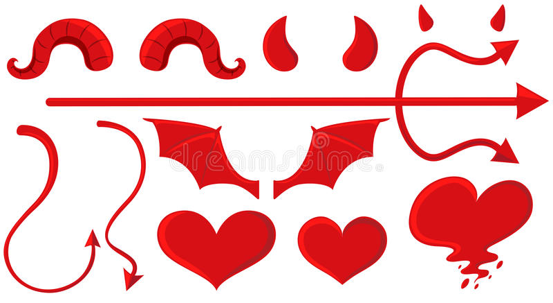 Anioła i diabła elementy w czerwieni royalty ilustracja