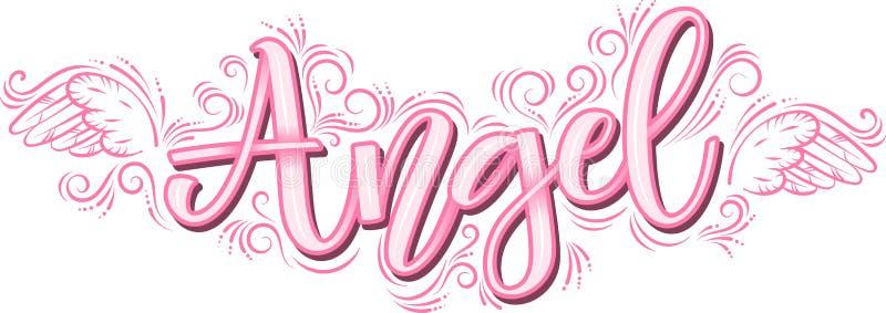 Anioła literowanie w różowej inskrypcji odizolowywającej na białym tle ilustracja wektor