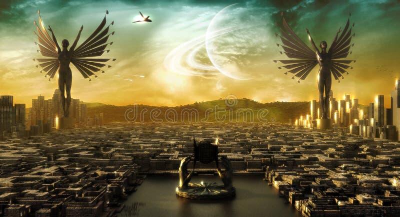 anioła miasto ilustracji