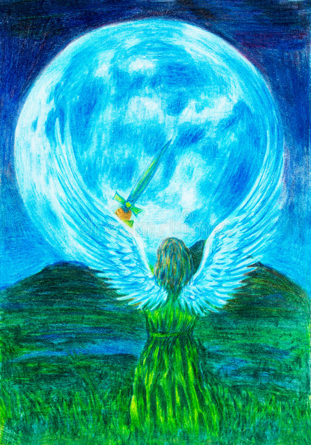 Anioła mienia kordzik w krajobrazie i księżyc w tle, oryginalny obraz ilustracji