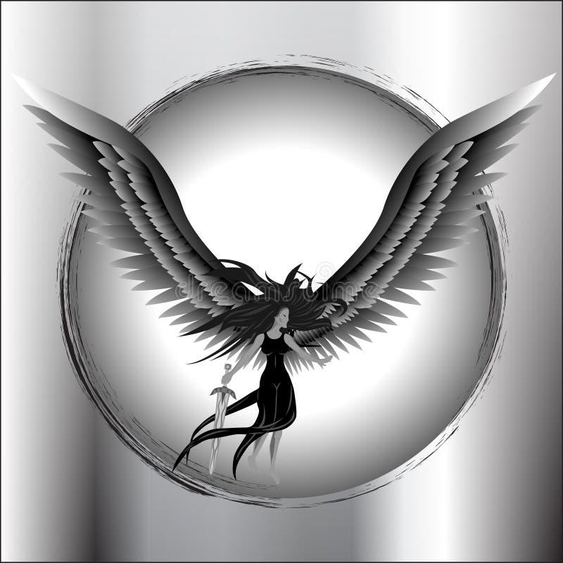 Anioła mienia Latający kordzik ilustracja wektor