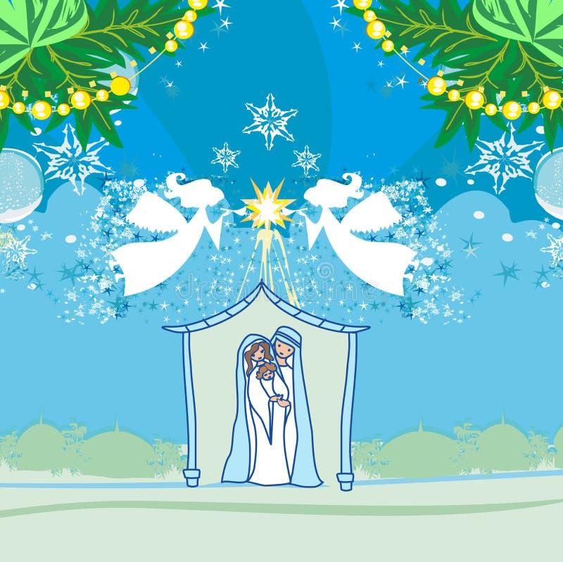 Anioła narodzenie jezusa sceny Bożenarodzeniowa Religijna karta ilustracja wektor