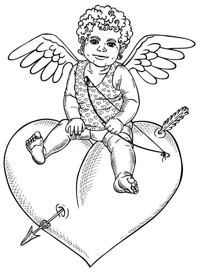 Anioła obsiadanie na sercu royalty ilustracja
