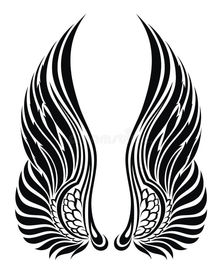 anioła projekt odizolowywający tatuażu biel skrzydła ilustracji
