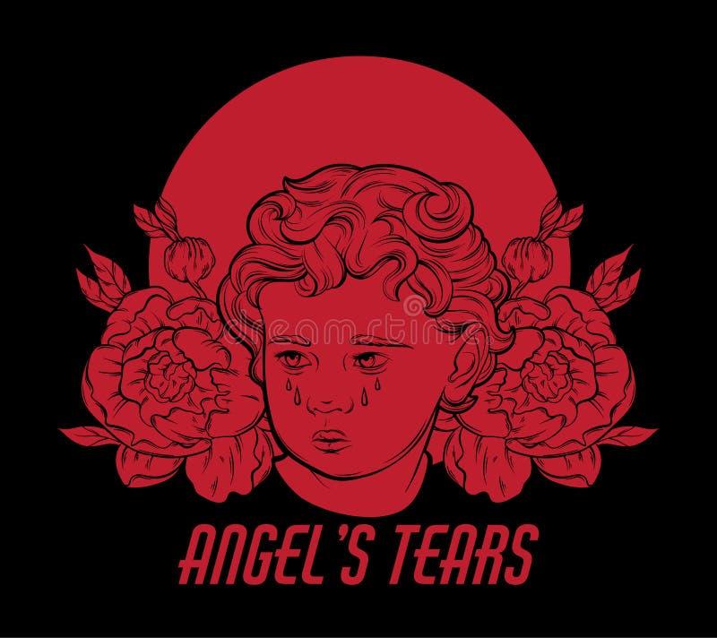 Anioła ` s łzy Wektorowa ręka rysujący portret amorek z kwiatami i nimb odizolowywający ilustracji