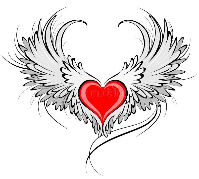 anioła serca czerwień ilustracji