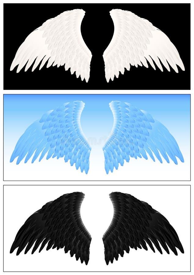 anioła setu skrzydło royalty ilustracja