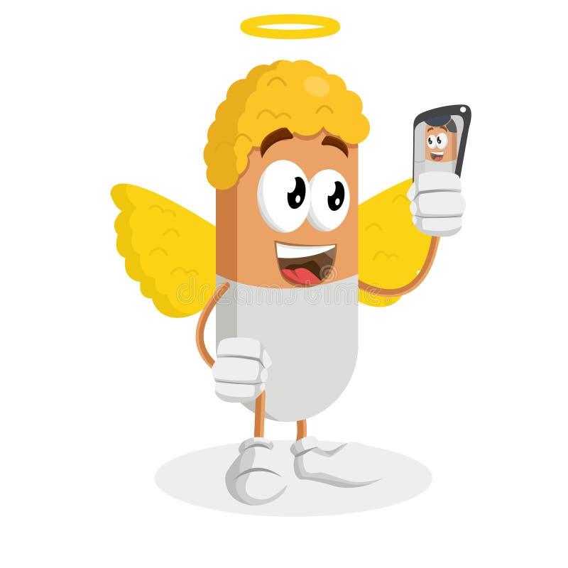 Anioła tło z selfie pozą i maskotka ilustracji