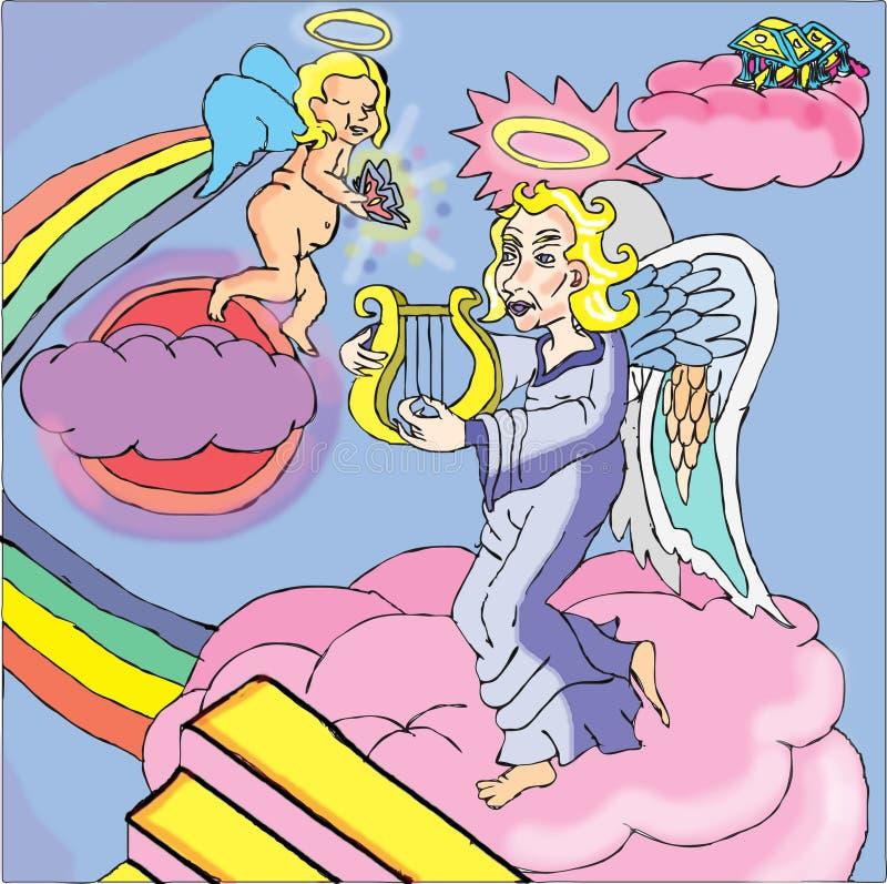Anioła wp8lywy dusza niebo royalty ilustracja