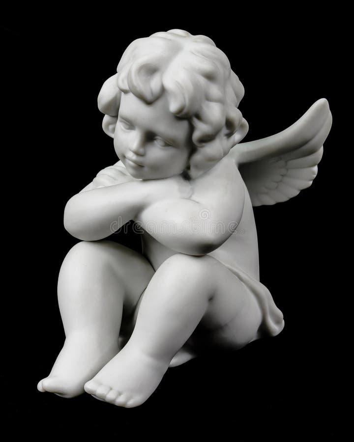 Aniołeczek na czerni fotografia stock