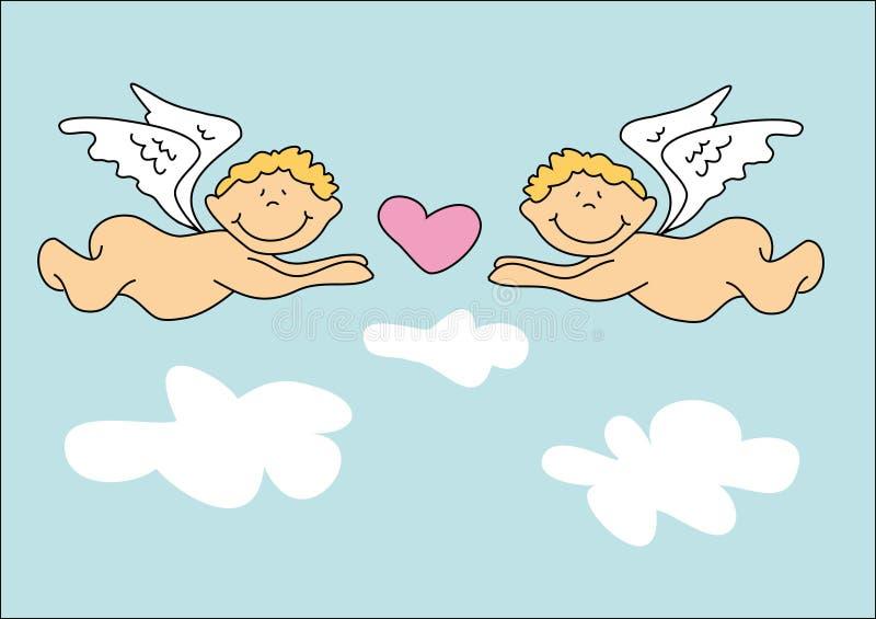 aniołowie dwa ilustracja wektor