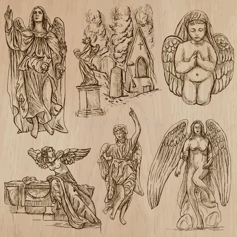 Aniołowie - ręka rysująca wektor paczka ilustracja wektor
