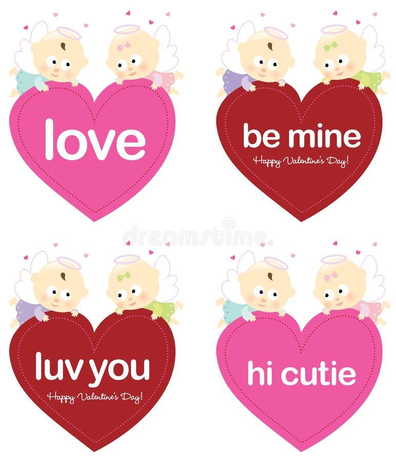 aniołowie target862_1_ odosobnionych ustalonych valentines ilustracji