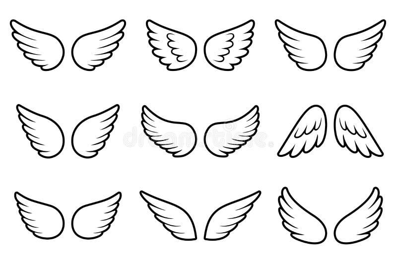 Aniołowie uskrzydlają set odizolowywającego na białym tle zdjęcia stock