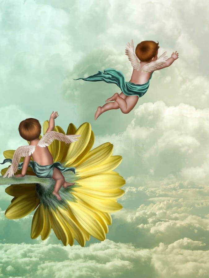 Aniołowie w niebie ilustracja wektor