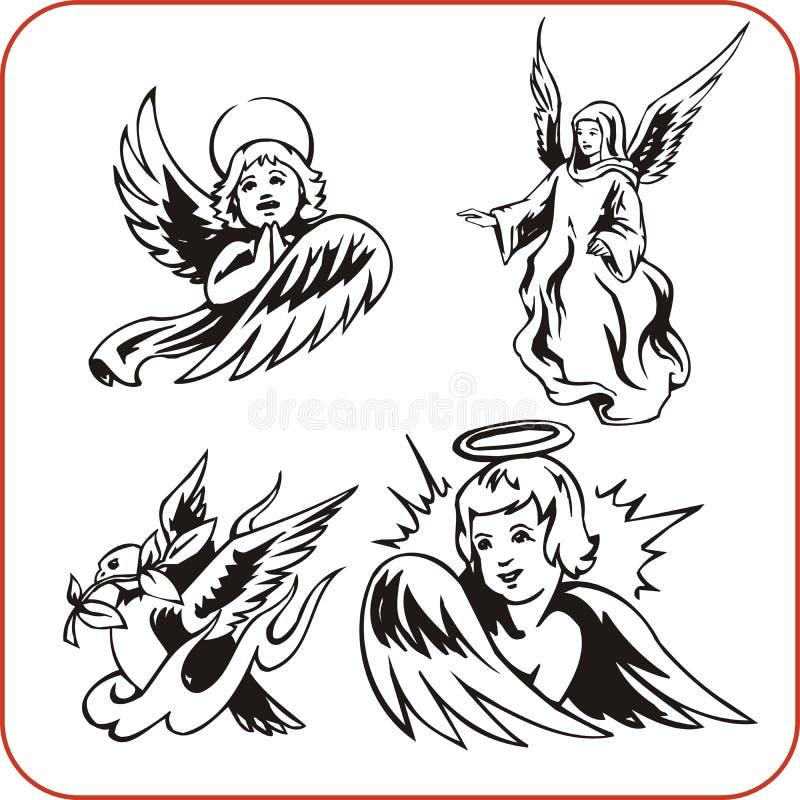Aniołowie - wektoru set. royalty ilustracja