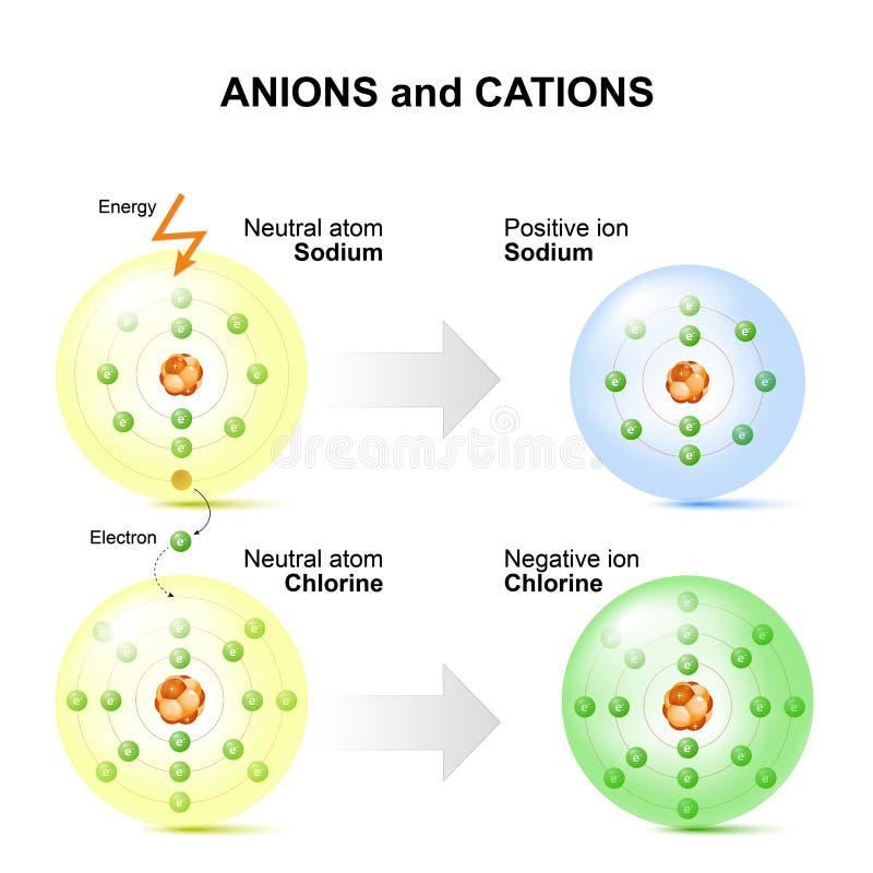 Aniones y cationes átomos por ejemplo del sodio y del cloro libre illustration
