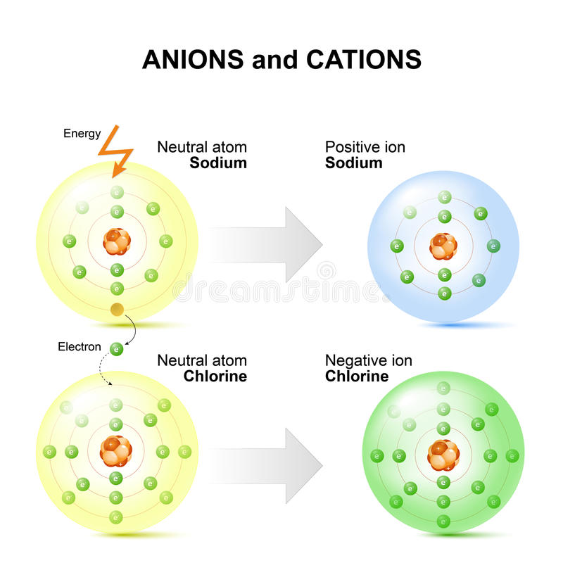 Anions And Cations For Example Sodium And Chlorine Atoms. Stock ...