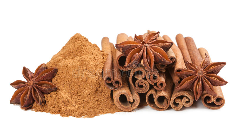Anis and cinnamon. Spice isolated stock images