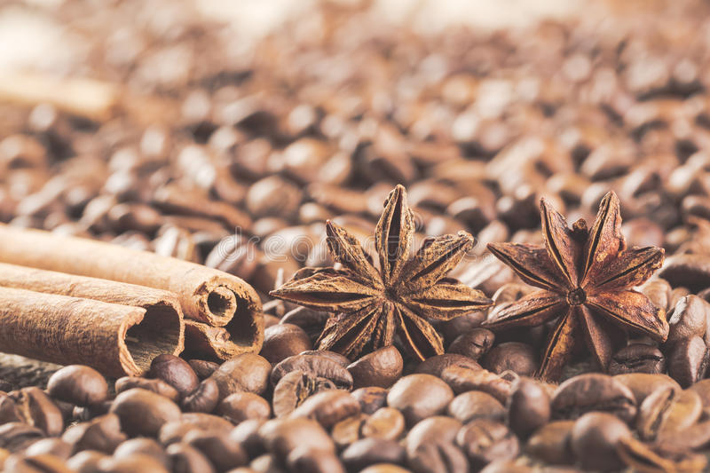 Anis, coffee beans and cinnamon sticks. Close up stock photography