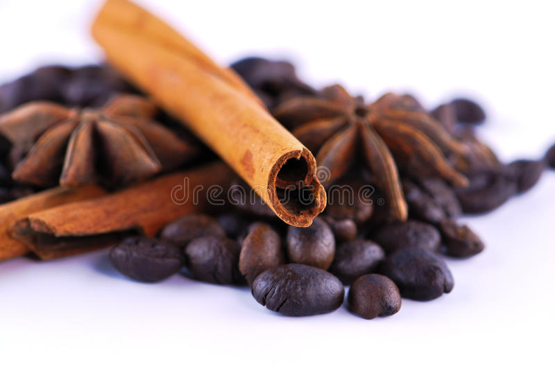 Anis, coffee and cinnamon. On white background stock photo