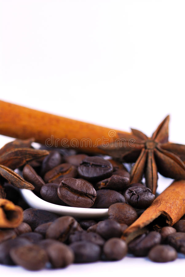 Anis, coffee and cinnamon. On white background royalty free stock image