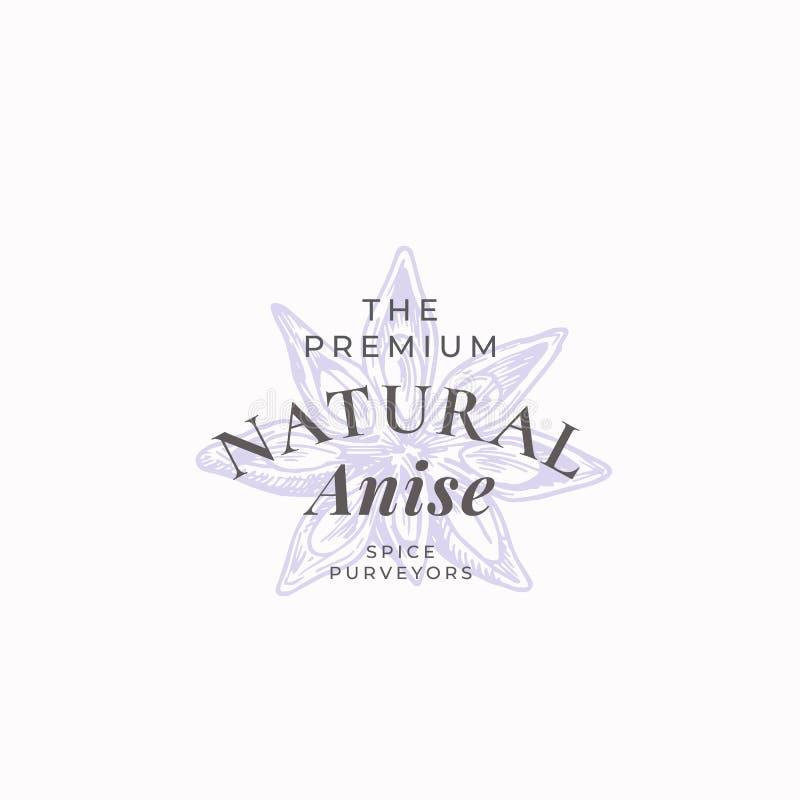 Anise Abstract Vector Sign natural, símbolo o Logo Template Anise Flofer Star Sillhouette elegante con tipografía retra stock de ilustración