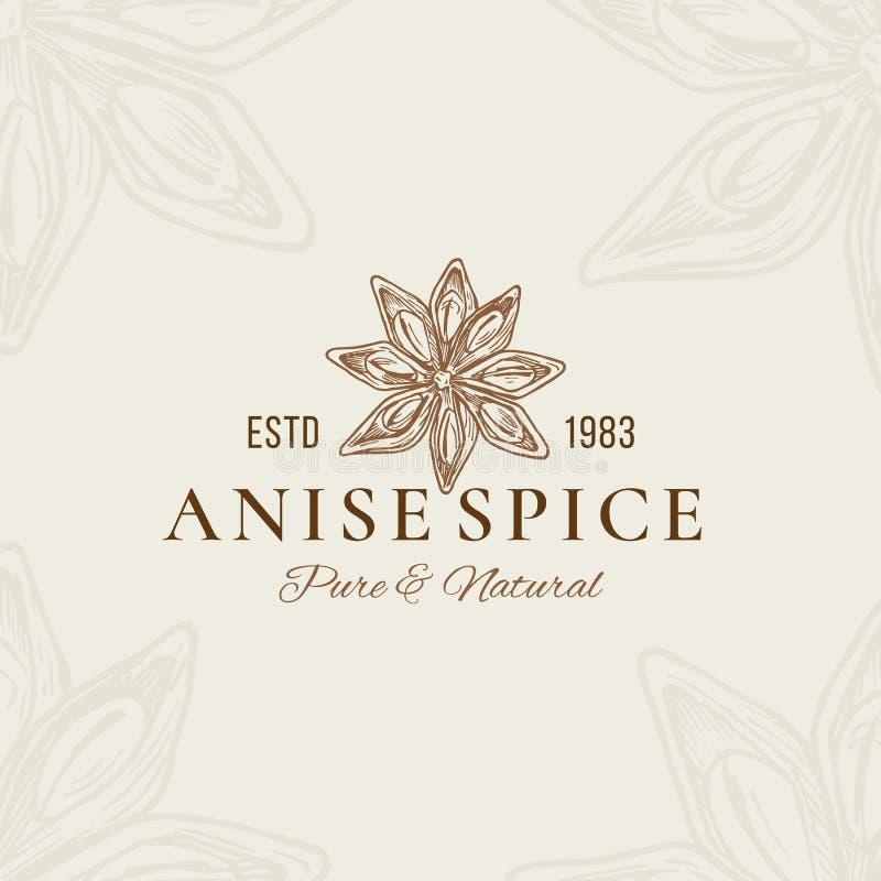 Anise Abstract Vector Sign pure et naturelle, symbole ou Logo Template Anise Flower Star Sillhouette avec r?tro illustration de vecteur