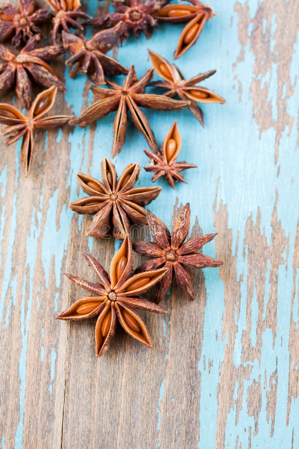 Anise aniseed spice. Close up of anise aniseed star spice stock images