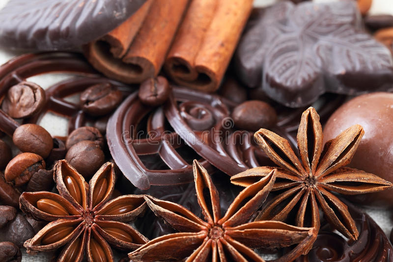 Download Anise, Cinnamon, Chocolate And Coffee Beans Stock Photo - Image: 33756472