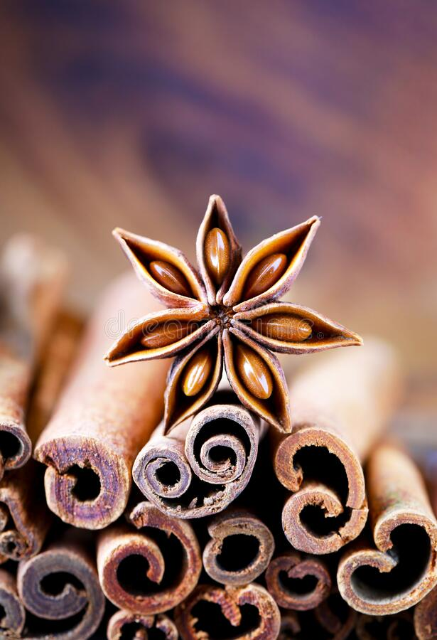 Anise and cinnamon, anise star, cinnamon sticks, spices, close-up, natural, brown, seasoning, dried product, vertical, dry, food. Anise  anise and cinnamon royalty free stock image