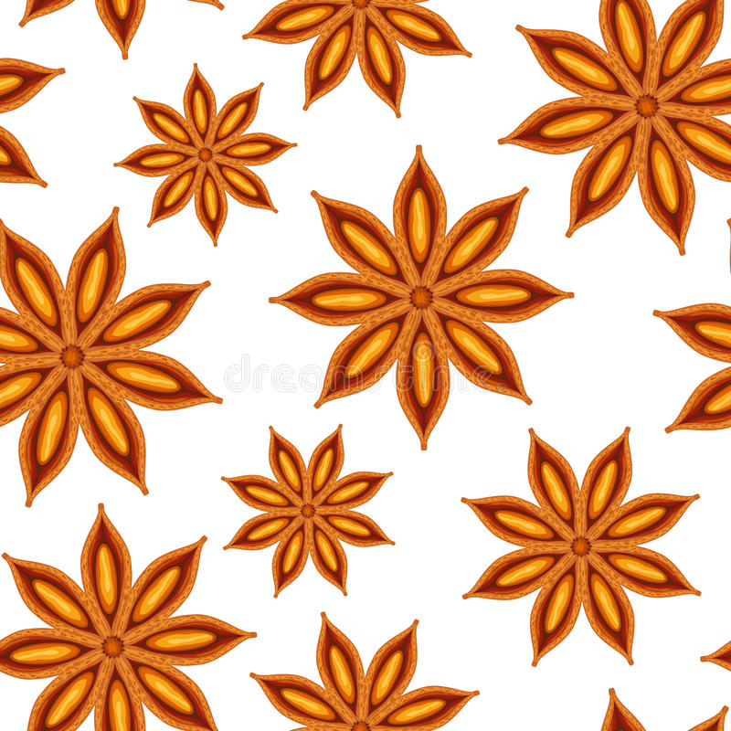 Anise. Seamless background. Illustration on white background stock illustration