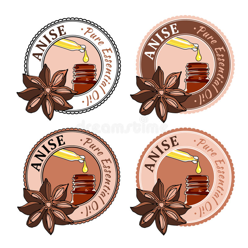 Anise. Set of essential oil labels. Anise , illustration of aromatic plant. Set of essential oil labels. Pure essential oil product. Colorful Sticker or Label vector illustration