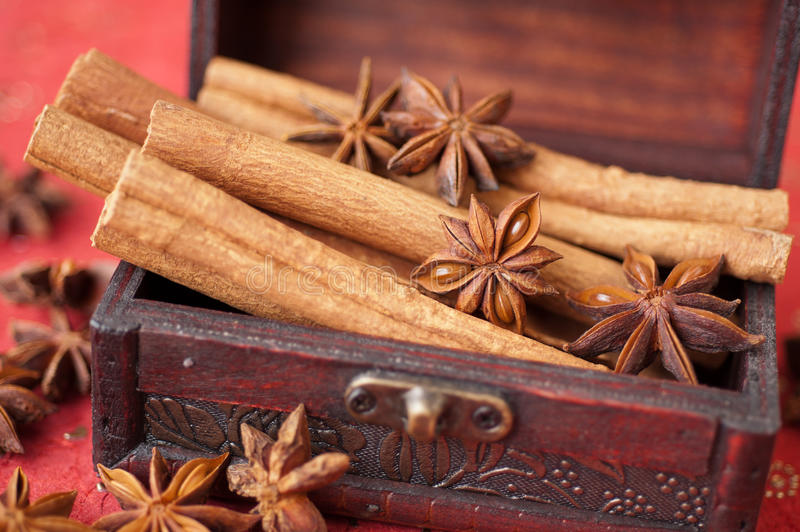 Download Anise Star, Cinnamon And Nutmeg In A Chest Royalty Free Stock Photos - Image: 24045678