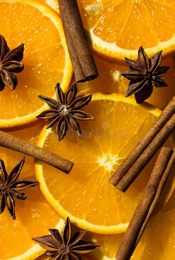 Anise star, cinnamon, Orange, half of orange, orange lobule. overhead view. Nanise star, cinnamon, Orange, half of orange, orange lobule. overhead view royalty free stock photography