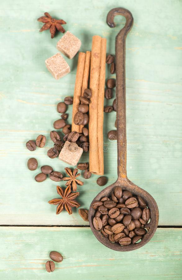 Anise star, cinnamon sticks and coffee beans stock images