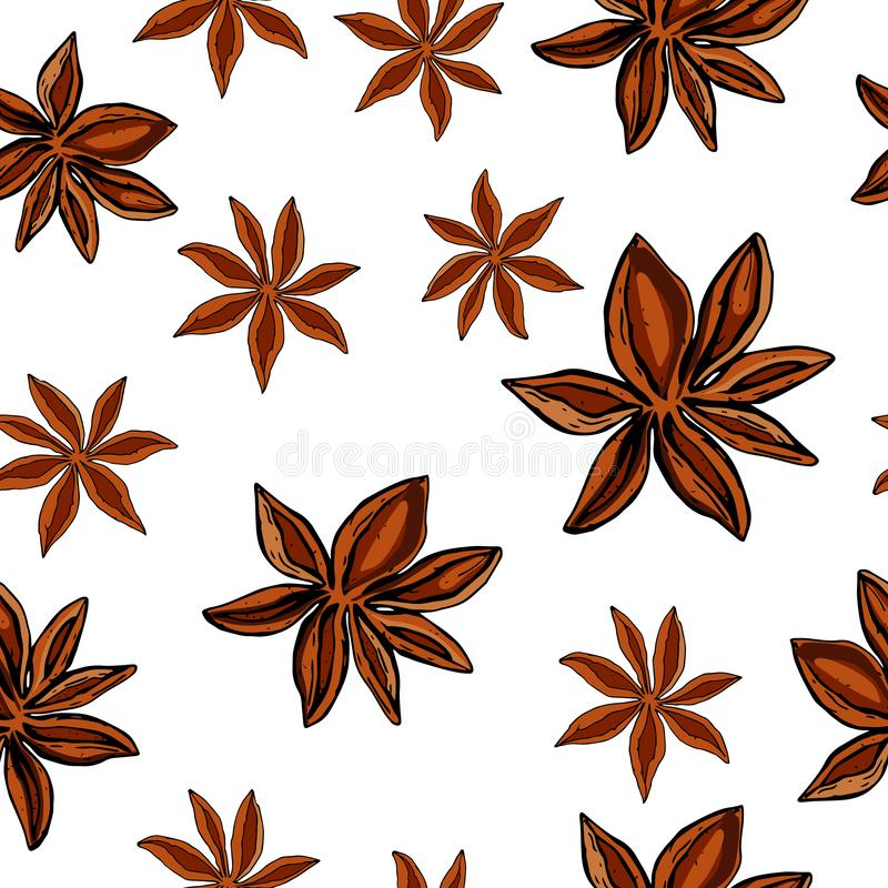 Anise Star Seamless Endless Pattern. Spice and Flavor Mulled Wine Cocktail Ingredient. Cooking or Aromatherapy. Hand Drawn vector. Anise Star Seamless Endless royalty free illustration