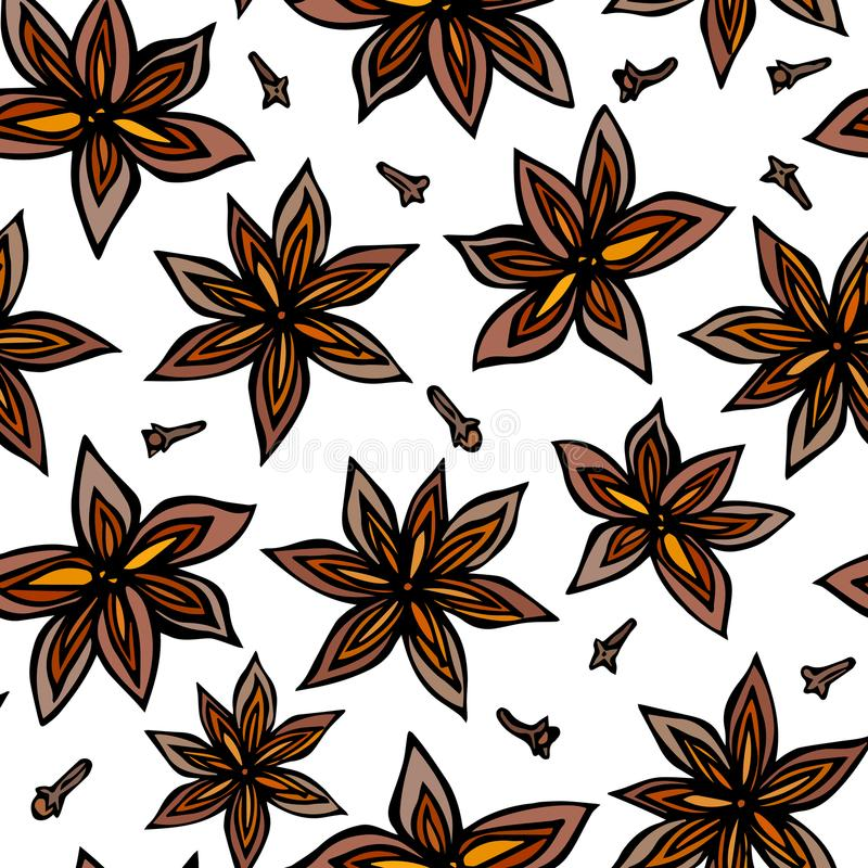 Anise Star Seed and Cloves Seamless Endless Pattern. Seasonal Food Background. Spice and Flavor Mulled Wine Cocktail Ingredient. C. Ooking or Aromatherapy. Hand vector illustration