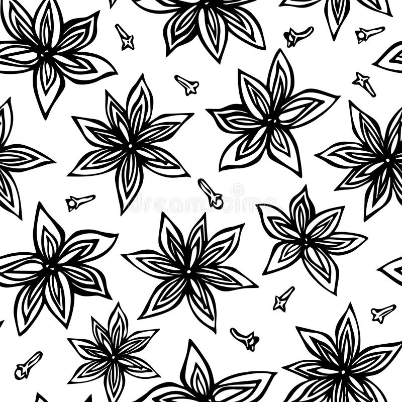 Anise Star Seed and Cloves Seamless Endless Pattern. Seasonal Food Background. Spice and Flavor Mulled Wine Cocktail Ingredient. C. Ooking or Aromatherapy. Hand stock illustration