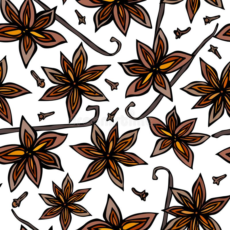 Anise Star Seed, Cloves and Vanilla Pod Seamless Endless Pattern. Seasonal Food Background. Spice and Flavor Mulled Wine Cocktail. Cooking or Aromatherapy. Hand vector illustration