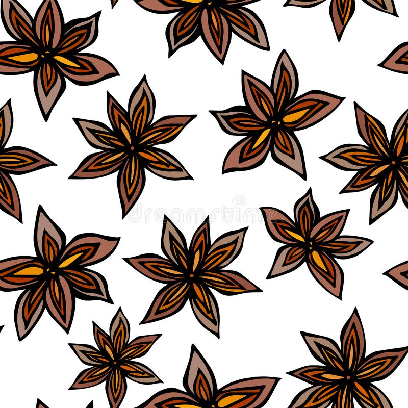 Anise Star Seed Seamless Endless Pattern. Seasonal Food Background. Spice and Flavor Mulled Wine Cocktail Ingredient. Cooking or A. Romatherapy. Hand Drawn vector illustration