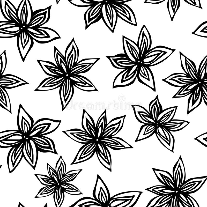 Anise Star Seed Seamless Endless Pattern. Seasonal Food Background. Spice and Flavor Mulled Wine Cocktail Ingredient. Cooking or A. Romatherapy. Hand Drawn stock illustration