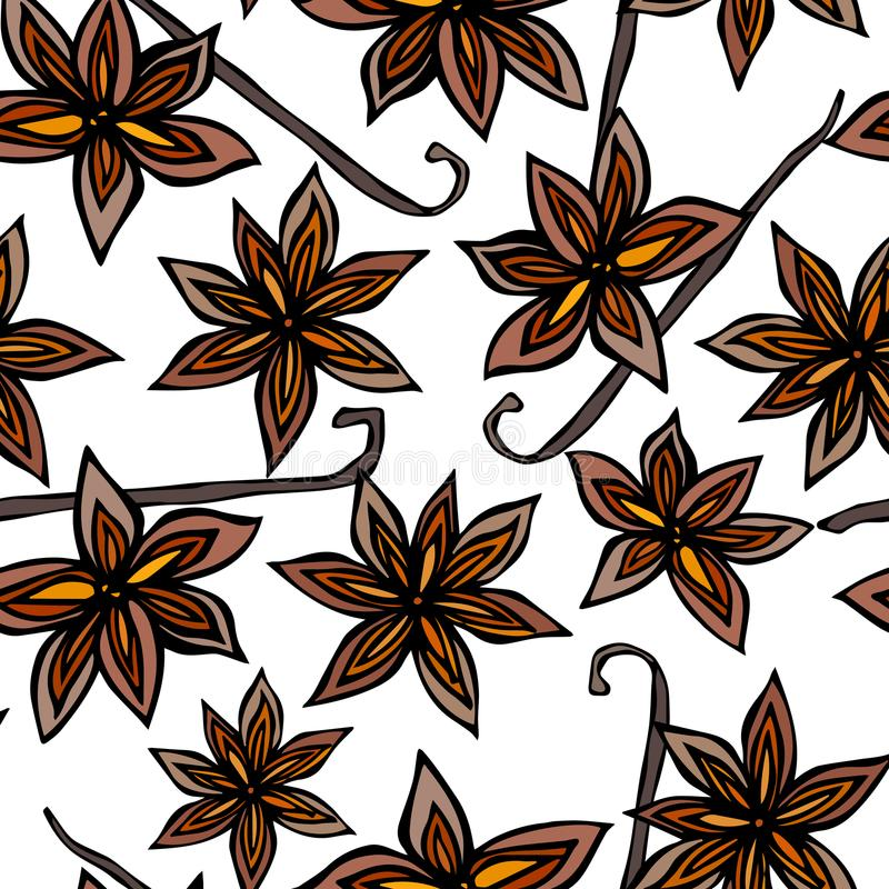 Anise Star Seed and Vanilla Pod Seamless Endless Pattern. Seasonal Food Background. Spice and Flavor Mulled Wine Cocktail. Cooking. Or Aromatherapy. Hand Drawn royalty free illustration