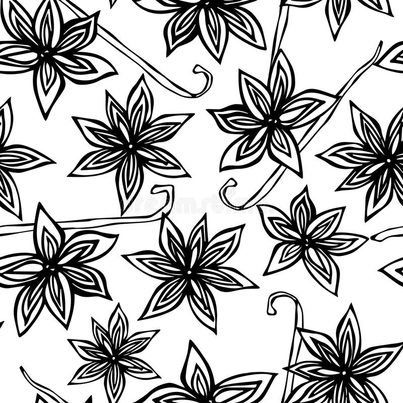 Anise Star Seed and Vanilla Pod Seamless Endless Pattern. Seasonal Food Background. Spice and Flavor Mulled Wine Cocktail. Cooking. Or Aromatherapy. Hand Drawn vector illustration